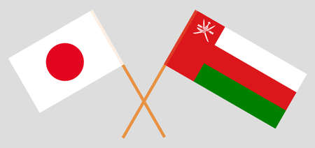 Crossed flags of Oman and Japan. Official colors. Correct proportion.