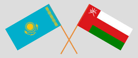 Crossed flags of Oman and Kazakhstan. Official colors. Correct proportion. 스톡 콘텐츠 - 152386134