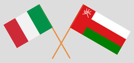 Crossed flags of Oman and Italy. Official colors. Correct proportion.