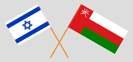 Crossed flags of Oman and Israel. Official colors. Correct proportion.