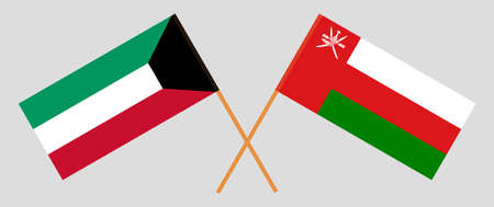 Crossed flags of Oman and Kuwait. Official colors. Correct proportion.  イラスト・ベクター素材