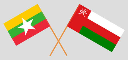 Crossed flags of Oman and Myanmar. Official colors. Correct proportion.