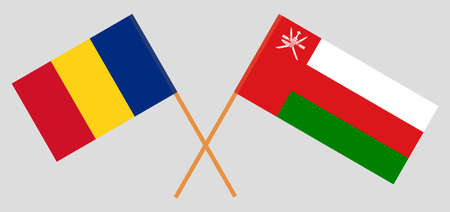 Crossed flags of Oman and Romania. Official colors. Correct proportion.