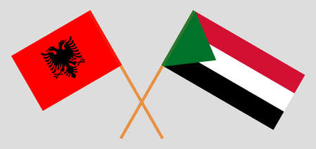 Crossed flags of Sudan and Albania. Official colors. Correct proportion. Vector illustration  イラスト・ベクター素材