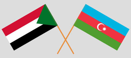 Crossed flags of Sudan and Azerbaijan. Official colors. Correct proportion. Vector illustration