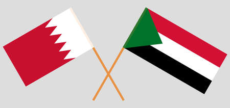 Crossed flags of Sudan and Bahrain. Official colors. Correct proportion. Vector illustration