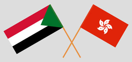 Crossed flags of Sudan and Hong Kong. Official colors. Correct proportion. Vector illustration 스톡 콘텐츠 - 152563067
