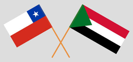 Crossed flags of Sudan and Chile. Official colors. Correct proportion. Vector illustration  イラスト・ベクター素材