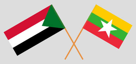 Crossed flags of Sudan and Myanmar. Official colors. Correct proportion. Vector illustration 스톡 콘텐츠 - 152563089