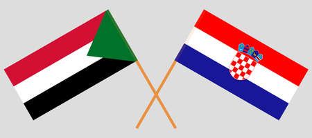 Crossed flags of Sudan and Croatia. Official colors. Correct proportion. Vector illustration