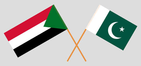 Crossed flags of Sudan and Pakistan. Official colors. Correct proportion.