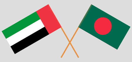 Crossed flags of Bangladesh and the United Arab Emirates. Official colors. Correct proportion. Vector illustration