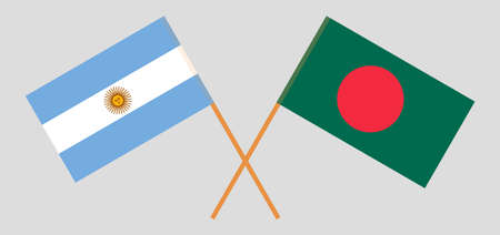Crossed flags of Bangladesh and Argentina. Official colors. Correct proportion. Vector illustration