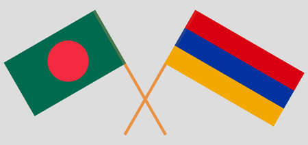 Crossed flags of Bangladesh and Armenia. Official colors. Correct proportion. Vector illustration