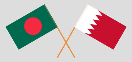 Crossed flags of Bangladesh and Bahrain. Official colors. Correct proportion. Vector illustration
