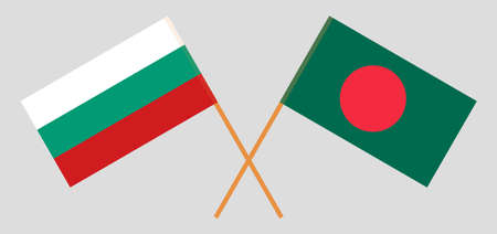 Crossed flags of Bangladesh and Bulgaria. Official colors. Correct proportion. Vector illustration