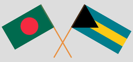 Crossed flags of Bangladesh and Bahamas. Official colors. Correct proportion. Vector illustration  イラスト・ベクター素材