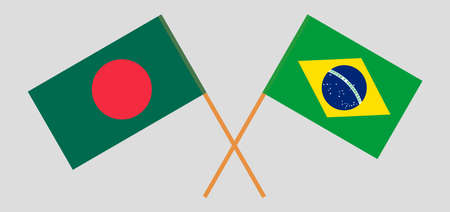 Crossed flags of Bangladesh and Brazil. Official colors. Correct proportion. Vector illustration  イラスト・ベクター素材