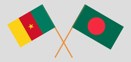 Crossed flags of Bangladesh and Cameroon. Official colors. Correct proportion. Vector illustration