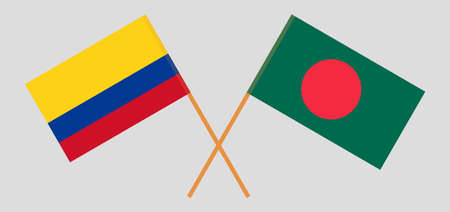 Crossed flags of Bangladesh and Colombia. Official colors. Correct proportion. Vector illustration  イラスト・ベクター素材