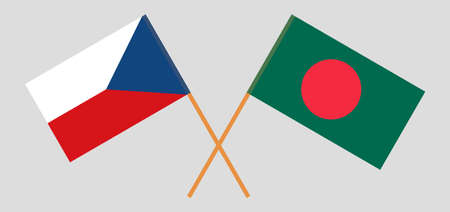 Crossed flags of Bangladesh and Czech Republic. Official colors. Correct proportion.