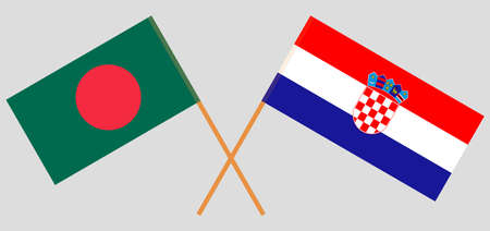 Crossed flags of Bangladesh and Croatia. Official colors. Correct proportion. Vector illustration