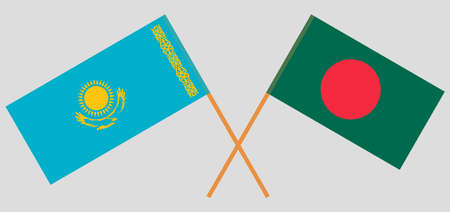 Crossed flags of Bangladesh and Kazakhstan. Official colors. Correct proportion.