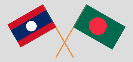 Crossed flags of Bangladesh and Laos. Official colors. Correct proportion. Vector illustration  イラスト・ベクター素材
