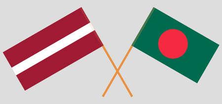 Crossed flags of Bangladesh and Latvia. Official colors. Correct proportion. Vektoros illusztráció