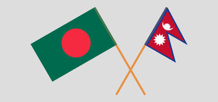 Crossed flags of Bangladesh and Nepal. Official colors. Correct proportion. Vector illustration