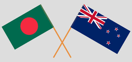 Crossed flags of Bangladesh and New Zealand. Official colors. Correct proportion. Vector illustration