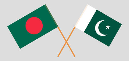 Crossed flags of Bangladesh and Pakistan. Official colors. Correct proportion. Vector illustration Ilustração