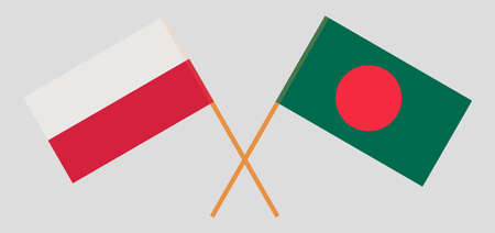 Crossed flags of Bangladesh and Poland. Official colors. Correct proportion. Vector illustration Ilustração