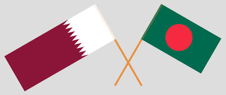 Crossed flags of Bangladesh and Qatar. Official colors. Correct proportion. Vector illustration