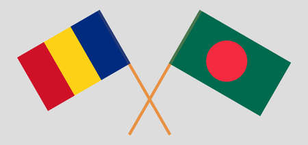 Crossed flags of Bangladesh and Romania. Official colors. Correct proportion. Vector illustration Ilustrace