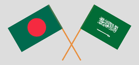 Crossed flags of Bangladesh and the Kingdom of Saudi Arabia. Official colors. Correct proportion. Vector illustration
