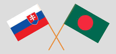 Crossed flags of Bangladesh and Slovakia. Official colors. Correct proportion. Vector illustration