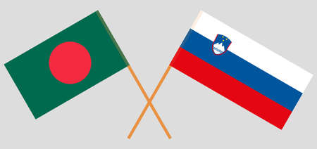 Crossed flags of Bangladesh and Slovenia. Official colors. Correct proportion. Vector illustration