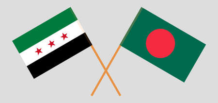 Crossed flags of Bangladesh and Interim Government of Syria. Official colors. Correct proportion. Vector illustration Ilustrace