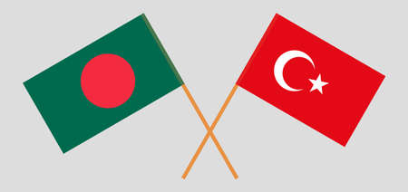 Crossed flags of Bangladesh and Turkey. Official colors. Correct proportion. Vector illustration Ilustrace