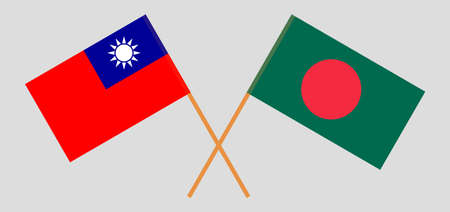 Crossed flags of Bangladesh and Taiwan. Official colors. Correct proportion. Vector illustration Ilustrace