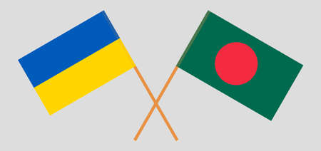 Crossed flags of Bangladesh and Ukraine. Official colors. Correct proportion. Vector illustration