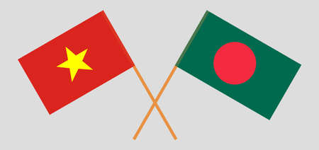 Crossed flags of Bangladesh and Vietnam. Official colors. Correct proportion. Vector illustration Ilustrace