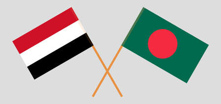 Crossed flags of Bangladesh and Yemen. Official colors. Correct proportion. Vector illustration