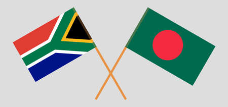 Crossed flags of Bangladesh and the RSA. Official colors. Correct proportion. Vector illustration