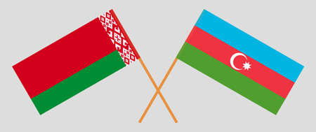 Crossed flags of Belarus and Azerbaijan. Official colors. Correct proportion. Vector illustration