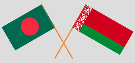 Crossed flags of Belarus and Bangladesh. Official colors. Correct proportion. Vector illustration