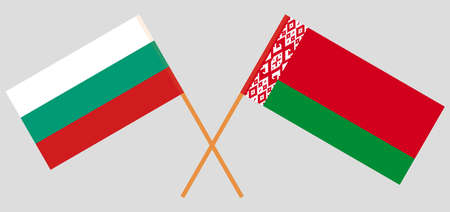 Crossed flags of Belarus and Bulgaria. Official colors. Correct proportion. Vector illustration