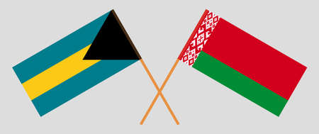 Crossed flags of Belarus and Bahamas. Official colors. Correct proportion. Vector illustration