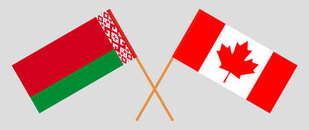 Crossed flags of Belarus and Canada. Official colors. Correct proportion. Vector illustration